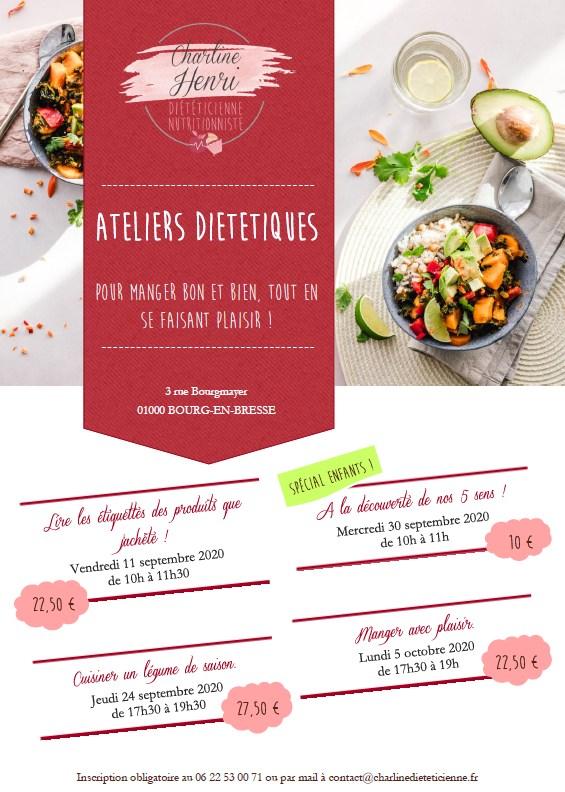 Affiche sur les ateliers diététiques à Bourg-en-Bresse de Charline Diététicienne
